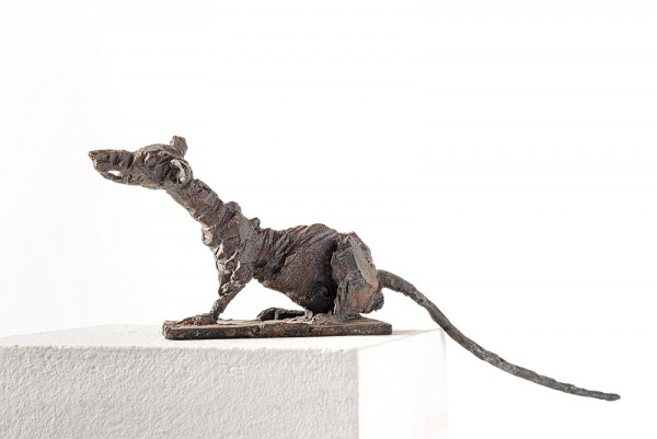 Ratte, Bronzeguss, 2016, 36 cm lang, 9 cm hoch , Auflage 12 Exemplare