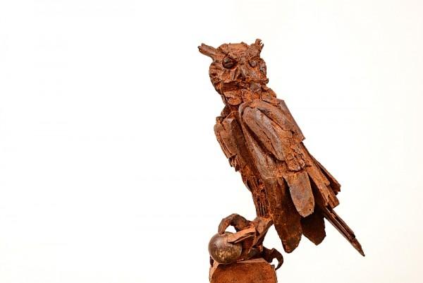 Uhu, Eisenguss, Stahlguss,Hofgartensaal, Tierplastik, Tierfigur, Kunst, Bildhauer, Tierskulptur